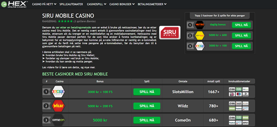 Websites: Payment methods for Casinos